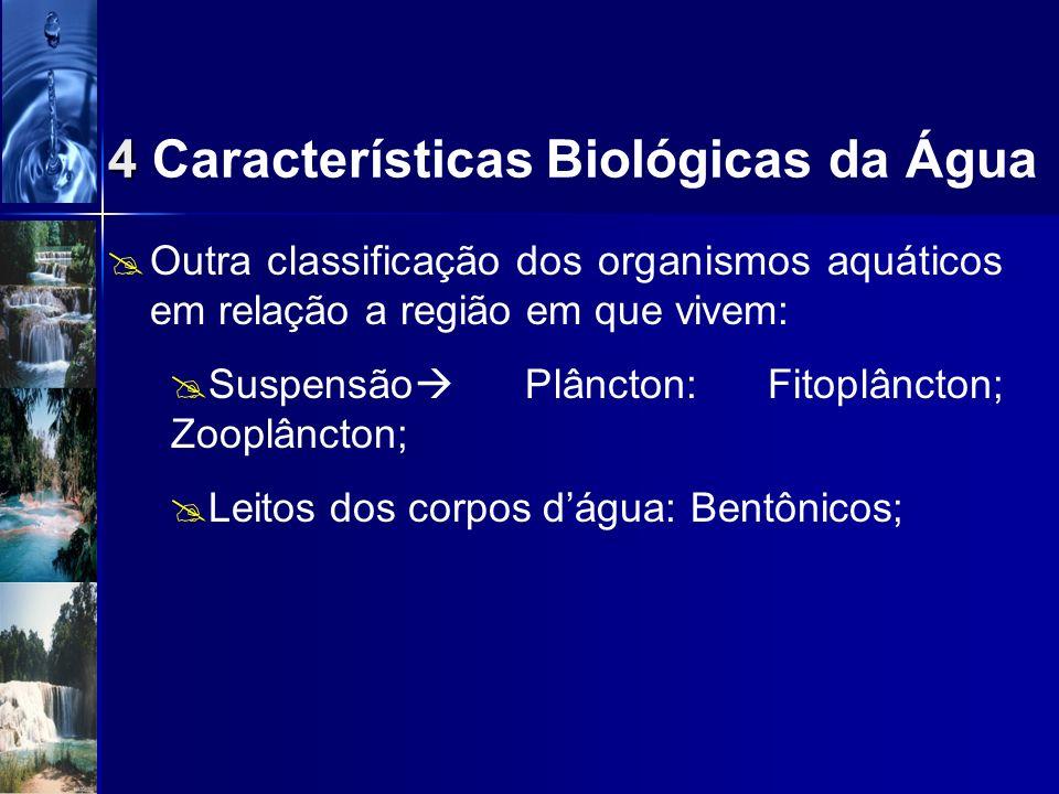 Condições físicas e químicas apropriadas no meio aquático Cadeia alimentar equilibrada (produtores, consumidores, decompositores); Organismos aquático