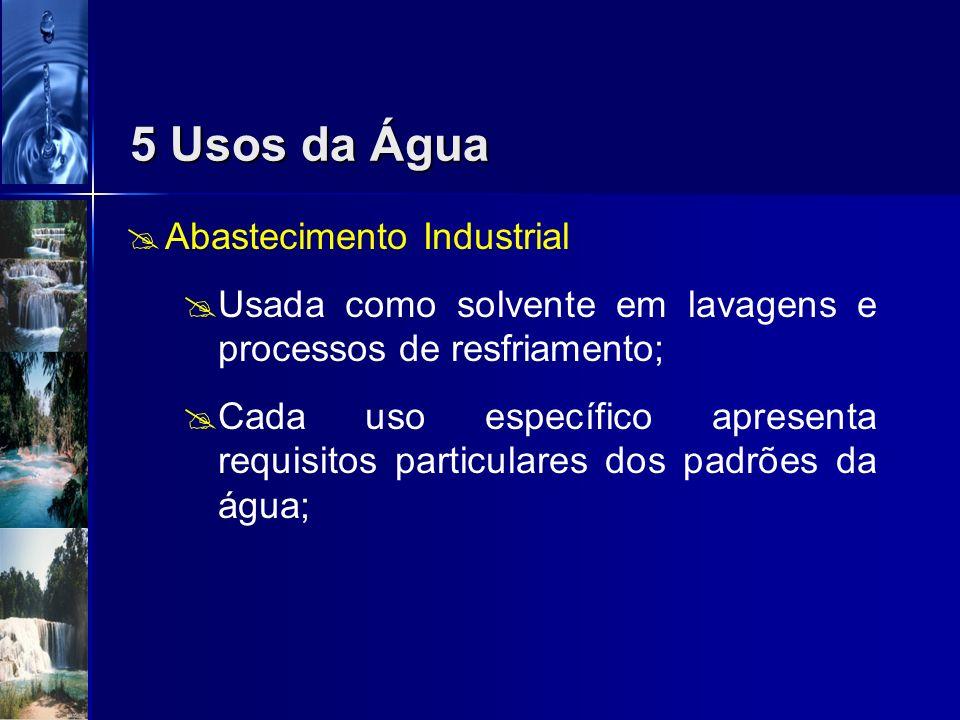 Abastecimento Urbano A água potável é aquela que não causa danos à saúde nem prejuízo aos sentidos; Incolor, inodora, atende ao consumo e ao uso; 5 Us
