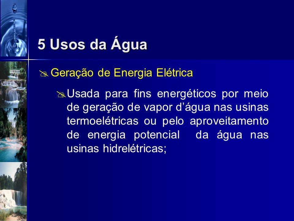 Irrigação Contaminação da água fertilizantes sintéticos e defensivos agrícolas; 5 Usos da Água