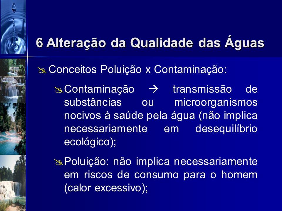 Poluição das águas é a alteração das características das águas por quaisquer ações ou interferências, sejam elas naturais ou provocadas pelo homem; A