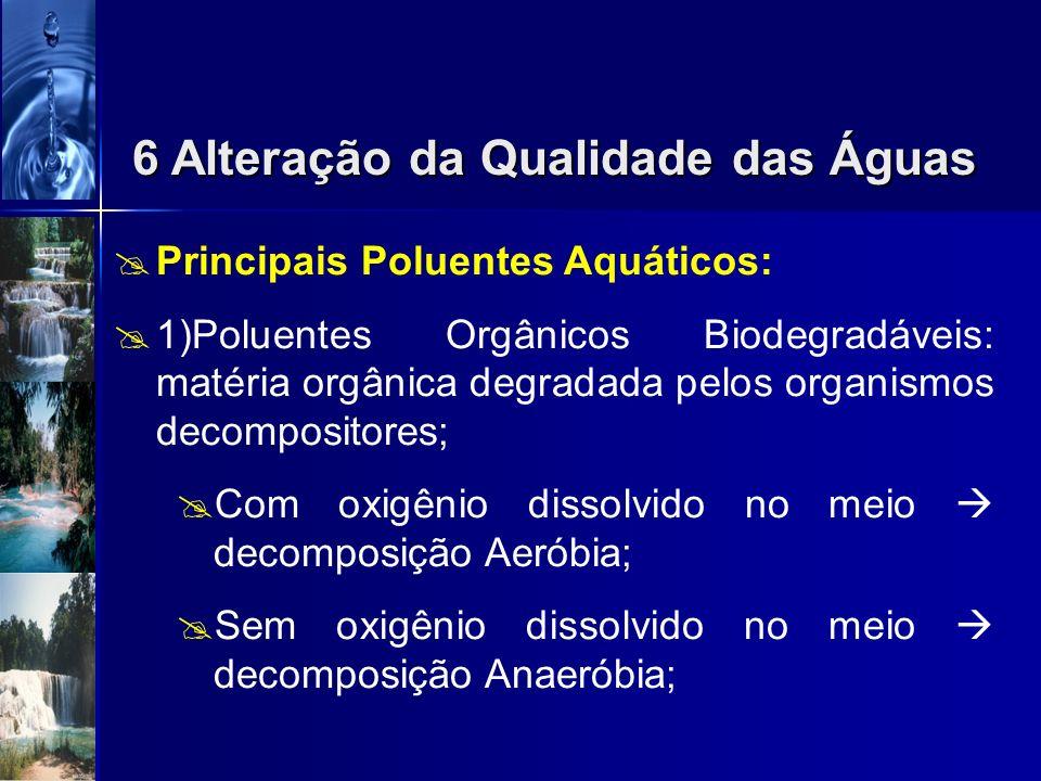 Poluição apresenta-se de duas formas: Pontual lançamentos individualizados Difusa: ocorre ao longo das margens dos rios 6 Alteração da Qualidade das Á