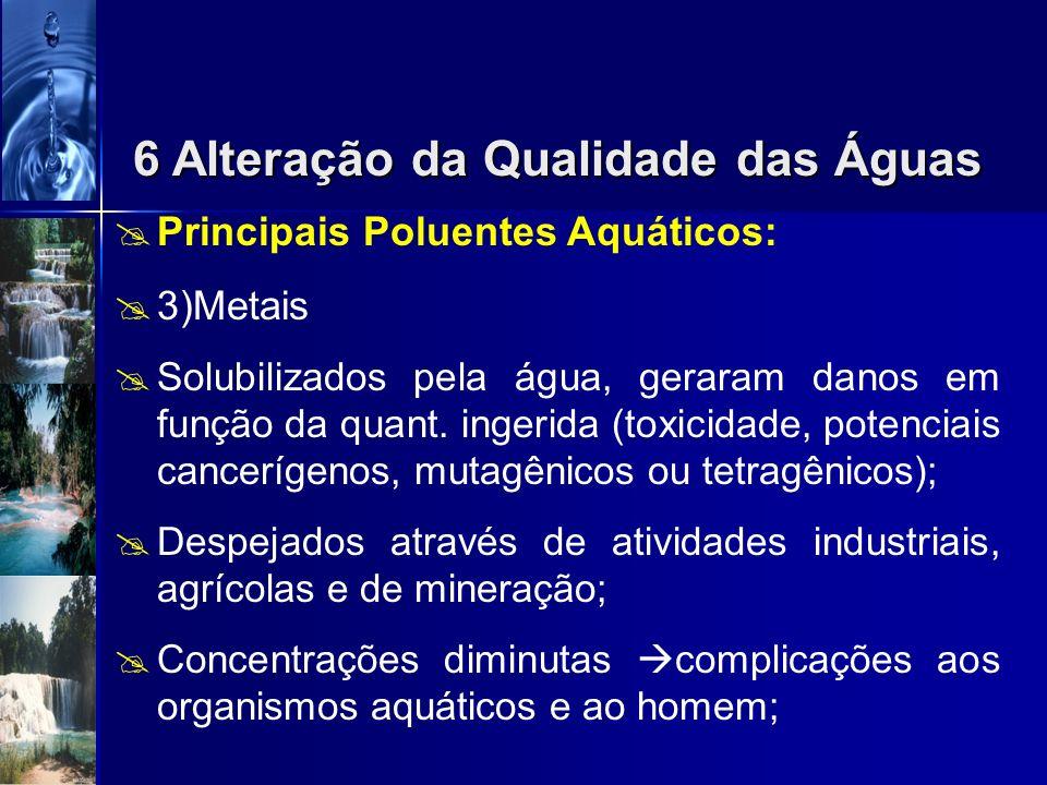 Principais Poluentes Aquáticos: 2)Poluentes Orgânicos Recalcitrantes Compostos Orgânicos não degradáveis ou com taxa de biodegradação muito lenta; Def