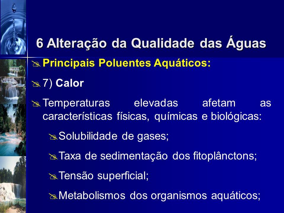 Principais Poluentes Aquáticos: 6)Sólidos Suspensos Sólidos suspensos aumentam a turbidez da água diminuem a transparência diminuem a fotossíntese des