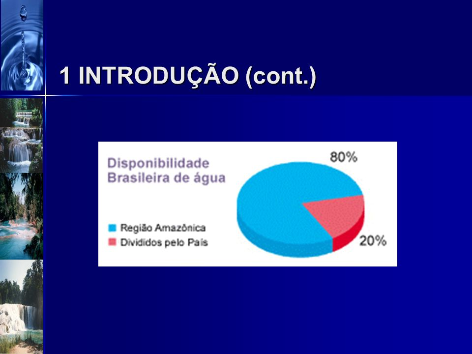 1 INTRODUÇÃO (cont.) Brasil possui de 12% a 14% dos Recursos Hídricos potáveis do mundo; 80% da água doce se encontra na região amazônica, mas abastec