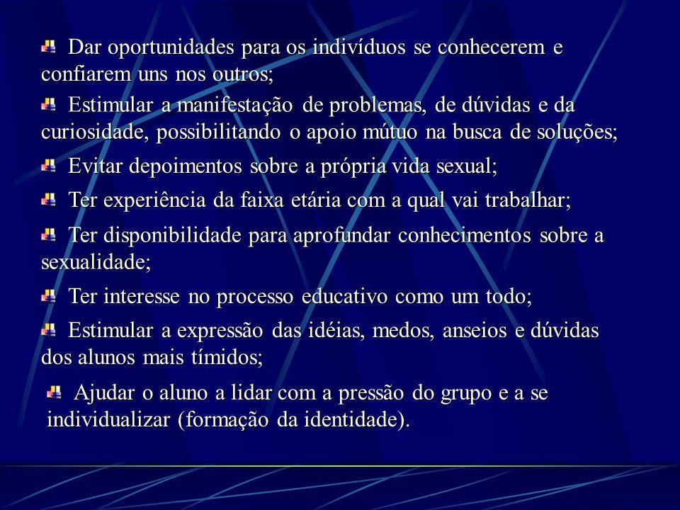 Procedimentos básicos na orientação sexual: Problematizar e facilitar as discussões entre os jovens, auxiliando-os a amadurecer suas opiniões, ao invé