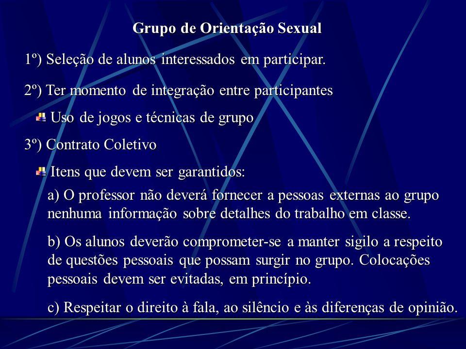 Grupo de Orientação Sexual 1º) Seleção de alunos interessados em participar.
