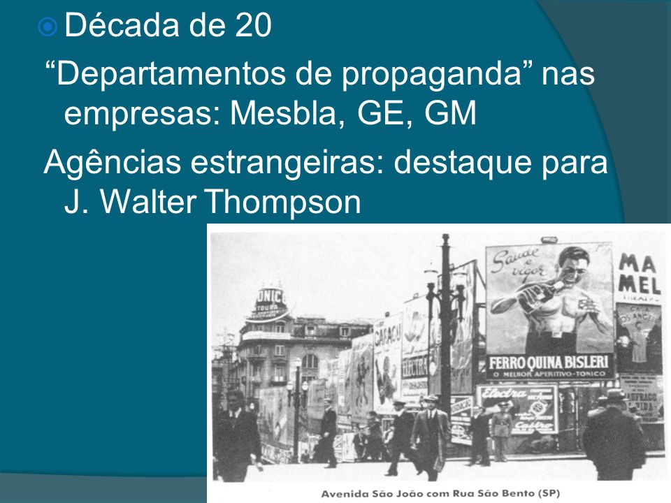 Década de 20 Departamentos de propaganda nas empresas: Mesbla, GE, GM Agências estrangeiras: destaque para J. Walter Thompson