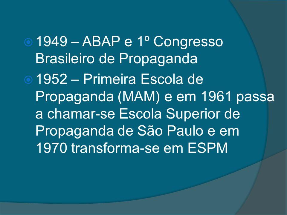 1949 – ABAP e 1º Congresso Brasileiro de Propaganda 1952 – Primeira Escola de Propaganda (MAM) e em 1961 passa a chamar-se Escola Superior de Propaganda de São Paulo e em 1970 transforma-se em ESPM