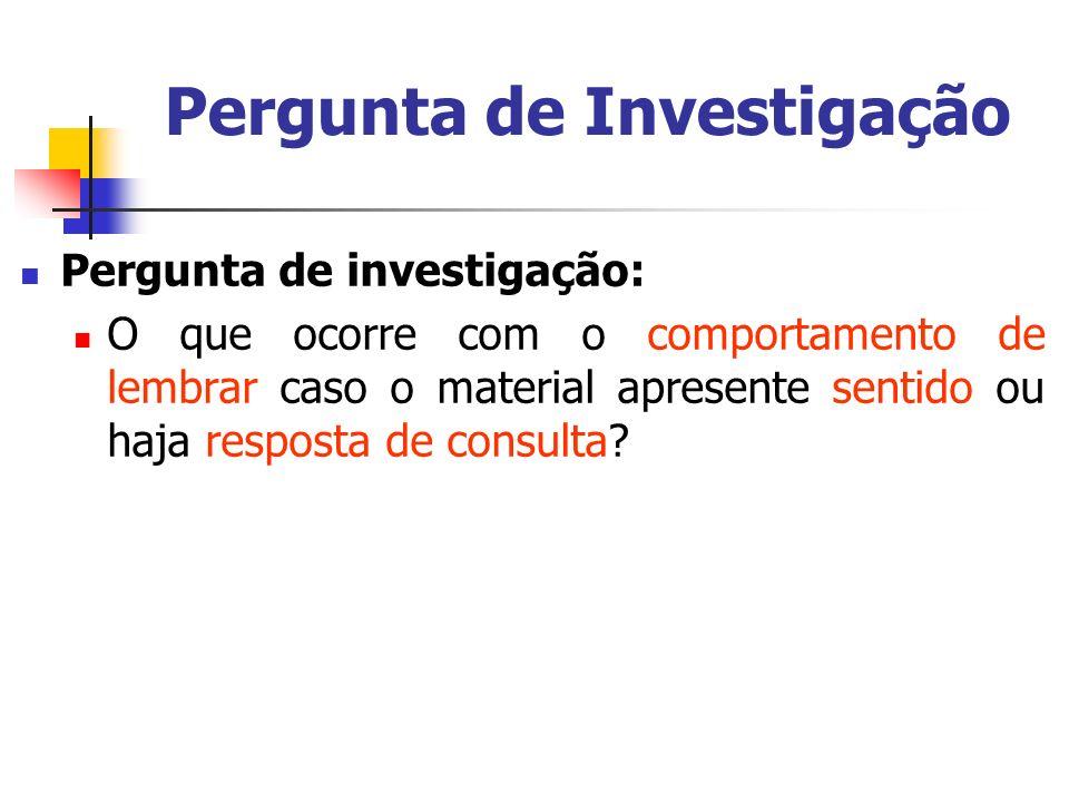 Pergunta de Investigação Pergunta de investigação: O que ocorre com o comportamento de lembrar caso o material apresente sentido ou haja resposta de c
