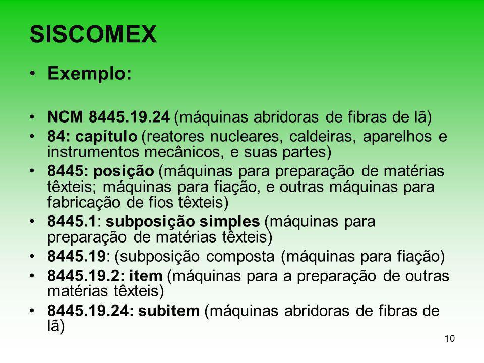 10 SISCOMEX Exemplo: NCM 8445.19.24 (máquinas abridoras de fibras de lã) 84: capítulo (reatores nucleares, caldeiras, aparelhos e instrumentos mecânic