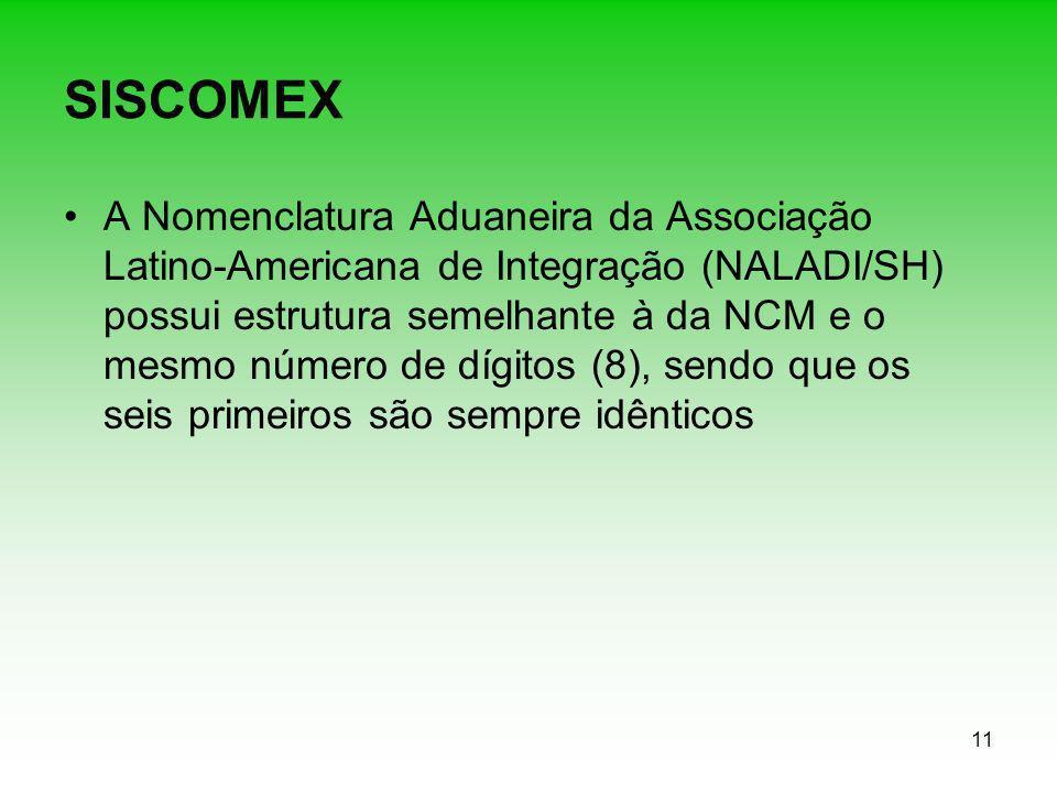 11 SISCOMEX A Nomenclatura Aduaneira da Associação Latino-Americana de Integração (NALADI/SH) possui estrutura semelhante à da NCM e o mesmo número de