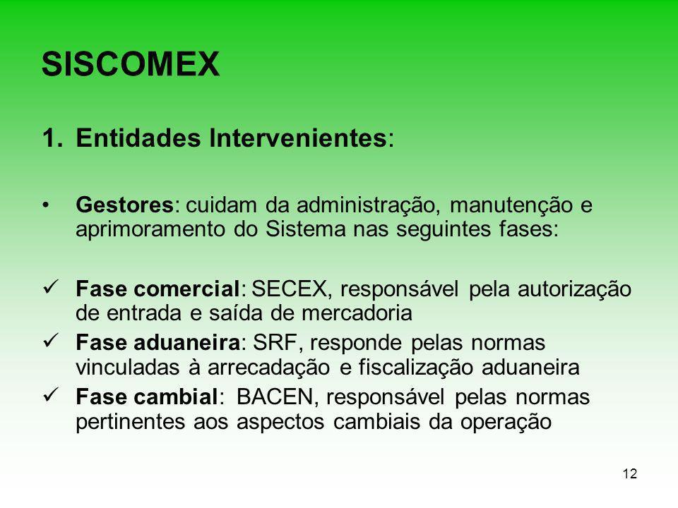 12 SISCOMEX 1.Entidades lntervenientes: Gestores: cuidam da administração, manutenção e aprimoramento do Sistema nas seguintes fases: Fase comercial: