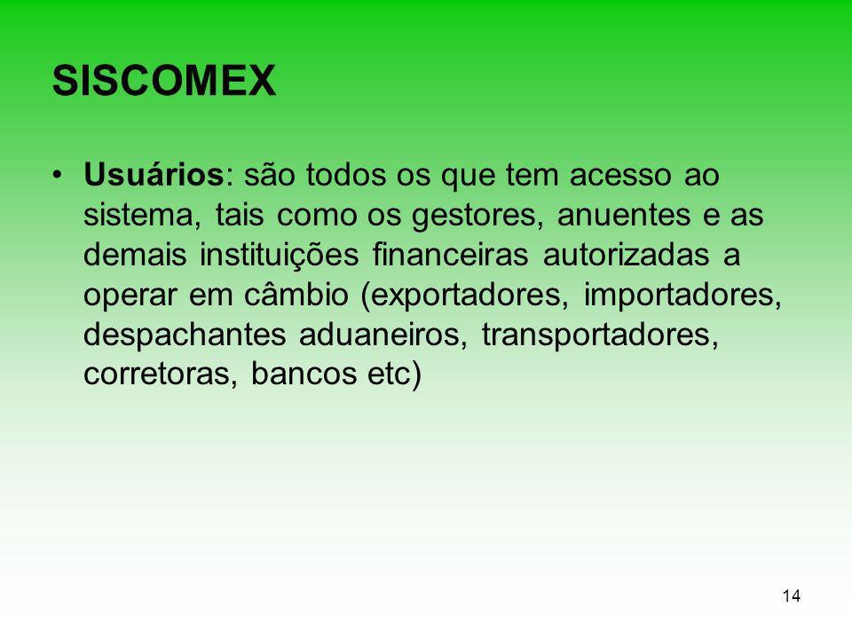 14 SISCOMEX Usuários: são todos os que tem acesso ao sistema, tais como os gestores, anuentes e as demais instituições financeiras autorizadas a opera