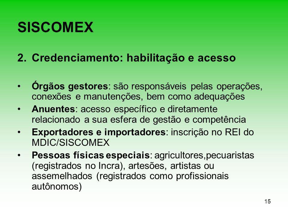 15 SISCOMEX 2.Credenciamento: habilitação e acesso Órgãos gestores: são responsáveis pelas operações, conexões e manutenções, bem como adequações Anue