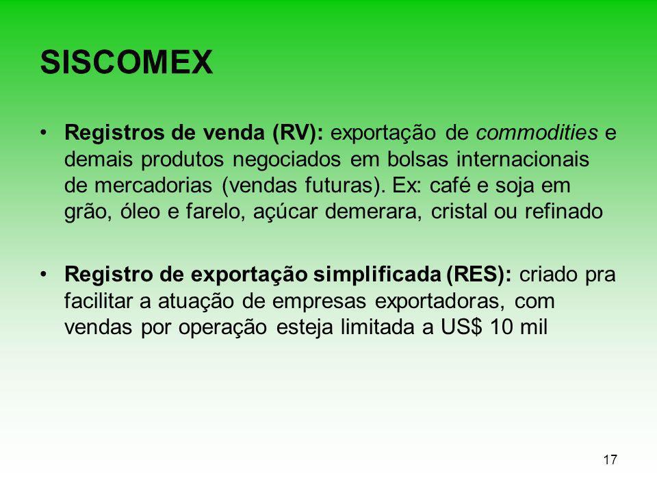17 SISCOMEX Registros de venda (RV): exportação de commodities e demais produtos negociados em bolsas internacionais de mercadorias (vendas futuras).
