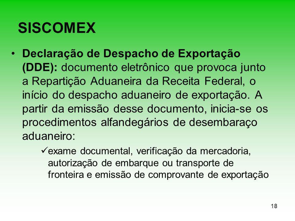 18 SISCOMEX Declaração de Despacho de Exportação (DDE): documento eletrônico que provoca junto a Repartição Aduaneira da Receita Federal, o início do
