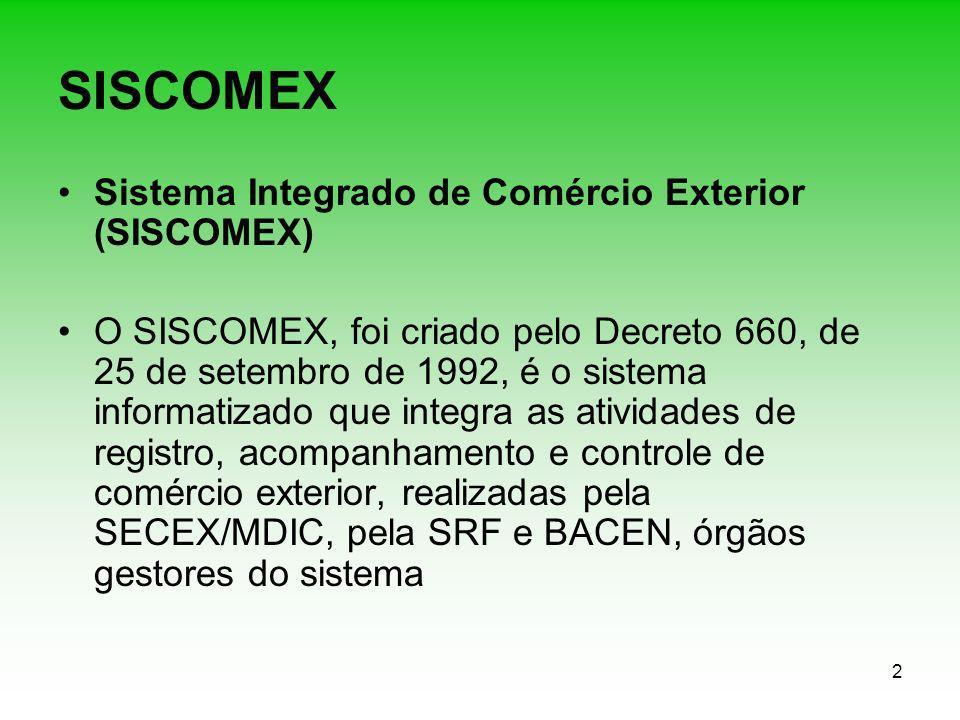 2 SISCOMEX Sistema Integrado de Comércio Exterior (SISCOMEX) O SISCOMEX, foi criado pelo Decreto 660, de 25 de setembro de 1992, é o sistema informati