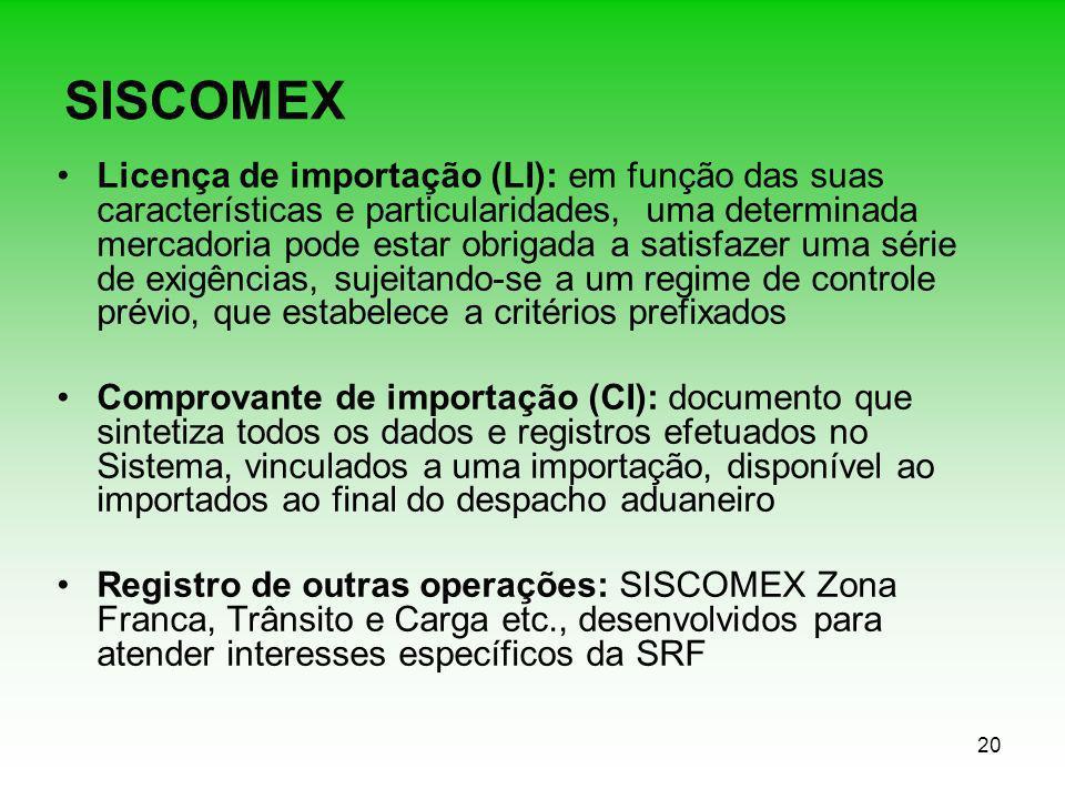 20 SISCOMEX Licença de importação (LI): em função das suas características e particularidades, uma determinada mercadoria pode estar obrigada a satisf