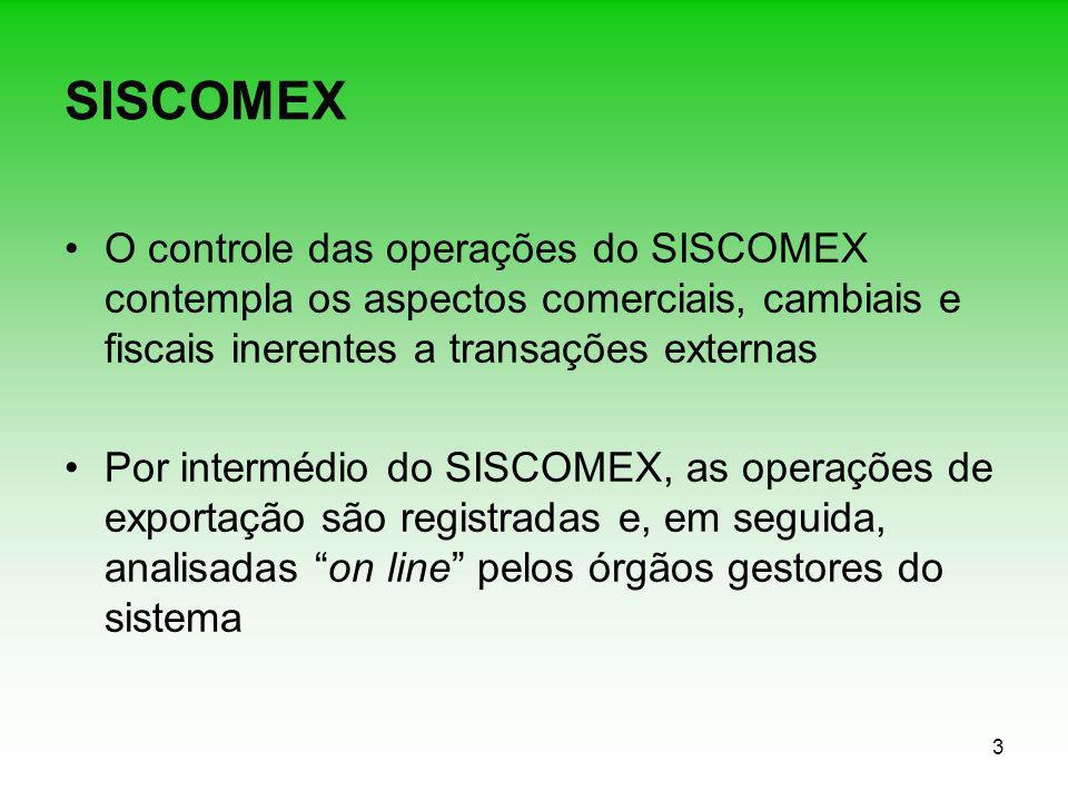3 SISCOMEX O controle das operações do SISCOMEX contempla os aspectos comerciais, cambiais e fiscais inerentes a transações externas Por intermédio do