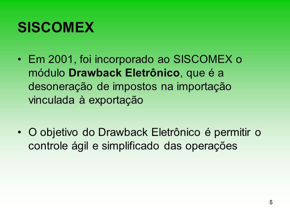 5 SISCOMEX Em 2001, foi incorporado ao SISCOMEX o módulo Drawback Eletrônico, que é a desoneração de impostos na importação vinculada à exportação O o