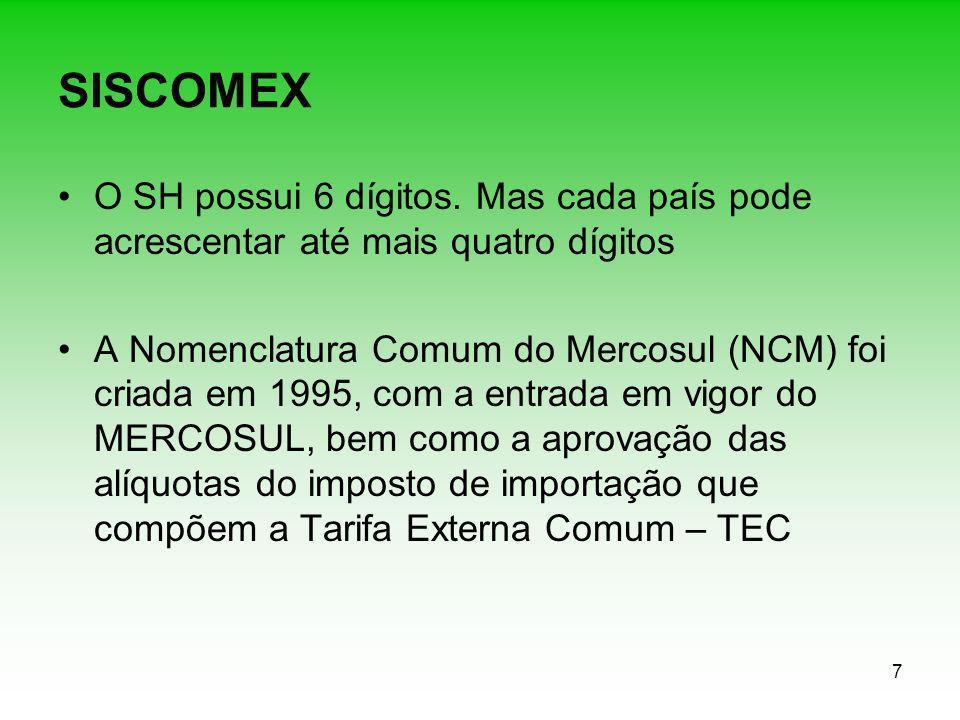 7 SISCOMEX O SH possui 6 dígitos. Mas cada país pode acrescentar até mais quatro dígitos A Nomenclatura Comum do Mercosul (NCM) foi criada em 1995, co