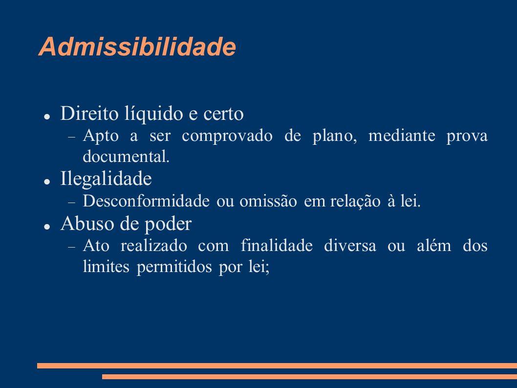 Admissibilidade Direito líquido e certo Apto a ser comprovado de plano, mediante prova documental. Ilegalidade Desconformidade ou omissão em relação à