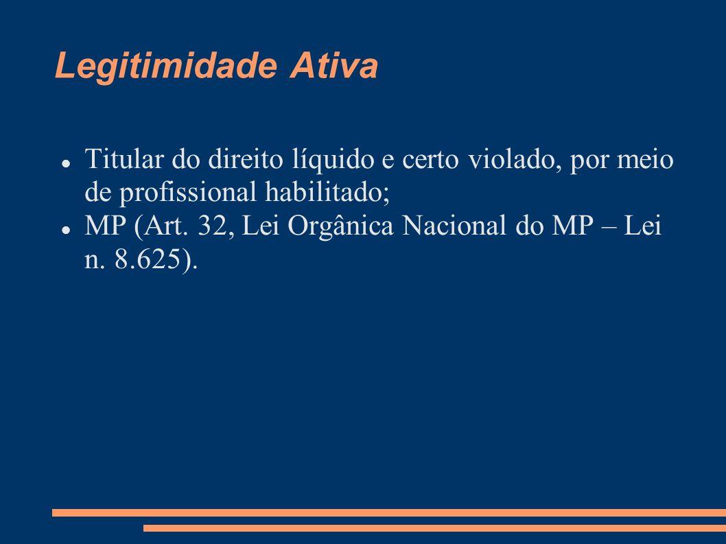 Legitimidade Ativa Titular do direito líquido e certo violado, por meio de profissional habilitado; MP (Art. 32, Lei Orgânica Nacional do MP – Lei n.