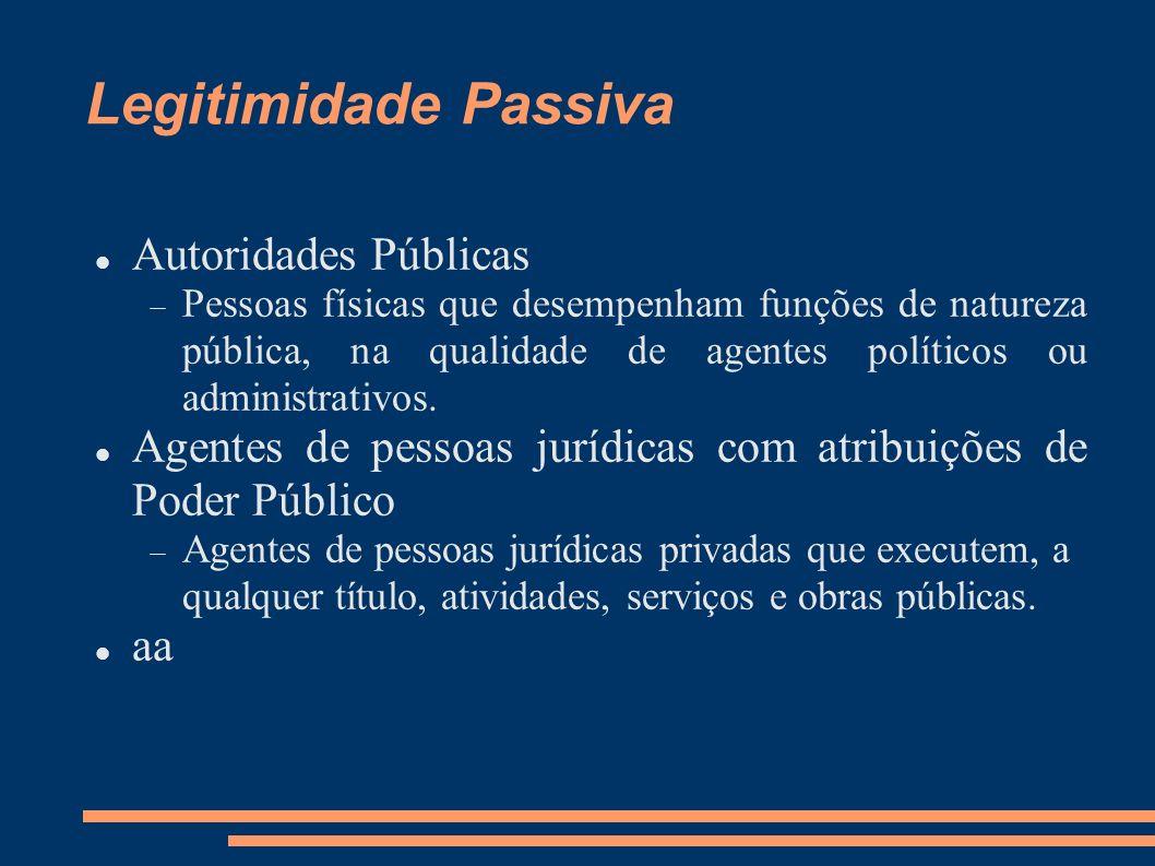 Legitimidade Passiva Autoridades Públicas Pessoas físicas que desempenham funções de natureza pública, na qualidade de agentes políticos ou administra