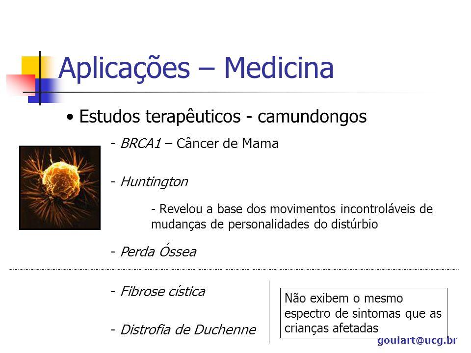 Aplicações – Medicina Estudos terapêuticos - camundongos - BRCA1 – Câncer de Mama - Huntington - Revelou a base dos movimentos incontroláveis de mudan