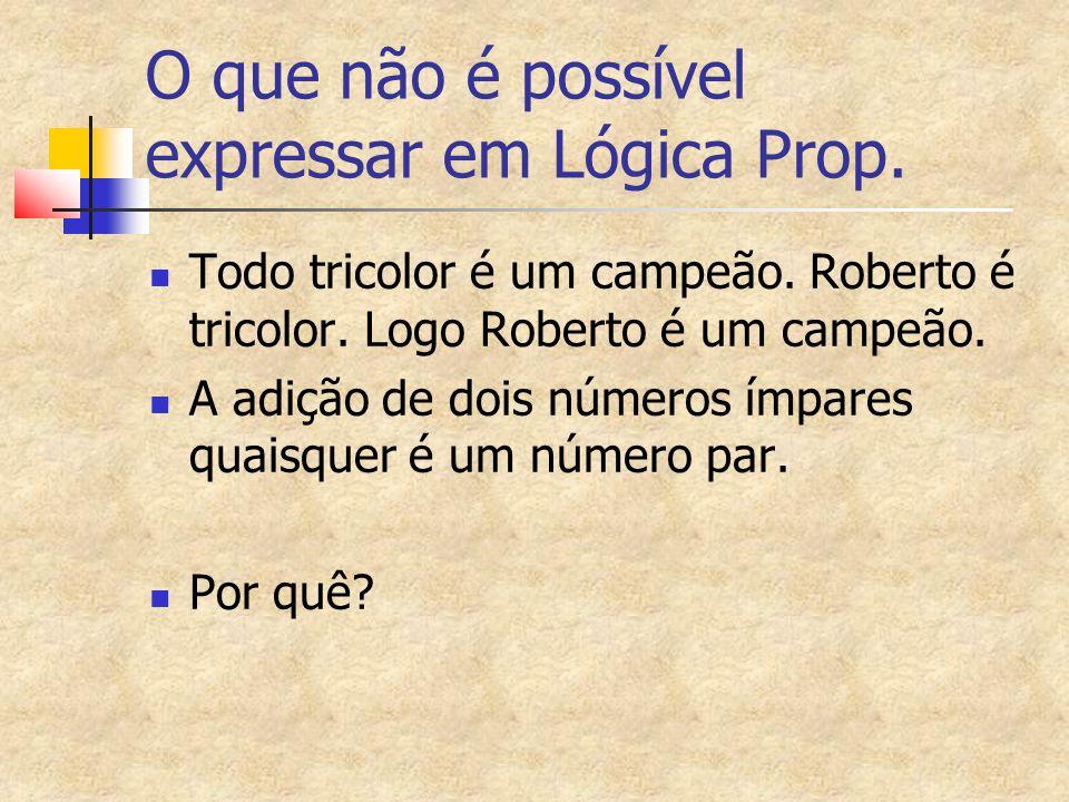 O que não é possível expressar em Lógica Prop. Todo tricolor é um campeão.