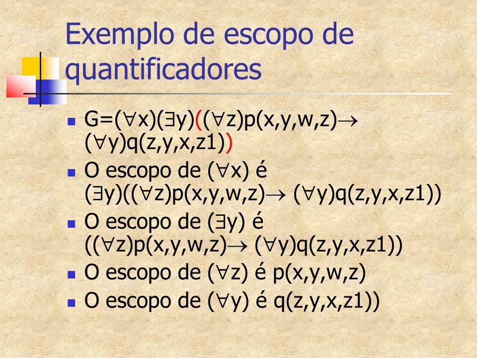 Exemplo de escopo de quantificadores G=( x)( y)(( z)p(x,y,w,z) ( y)q(z,y,x,z1)) O escopo de ( x) é ( y)(( z)p(x,y,w,z) ( y)q(z,y,x,z1)) O escopo de ( y) é (( z)p(x,y,w,z) ( y)q(z,y,x,z1)) O escopo de ( z) é p(x,y,w,z) O escopo de ( y) é q(z,y,x,z1))