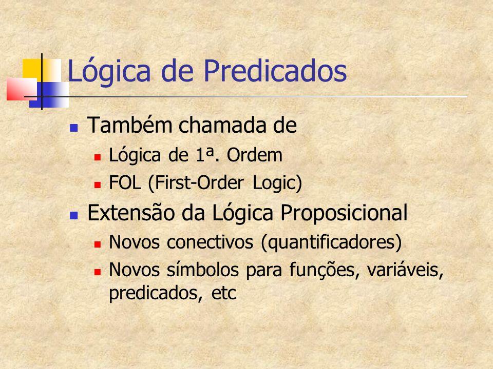 Alfabeto da Lógica de Predicados Símbolos de pontuação: (,) Símbolos de verdade: false, true Conjunto enumerável de símbolos para variáveis: x, y, z, w, x1, y1, x2, z2...