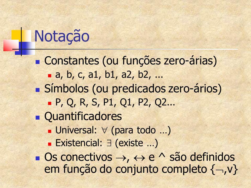 Notação Constantes (ou funções zero-árias) a, b, c, a1, b1, a2, b2,...