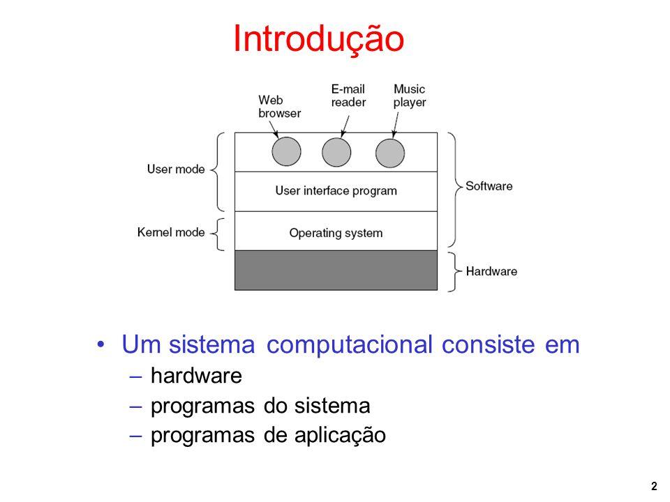 2 Introdução Um sistema computacional consiste em –hardware –programas do sistema –programas de aplicação