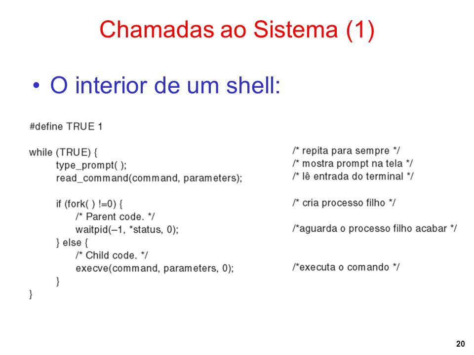 20 Chamadas ao Sistema (1) O interior de um shell: