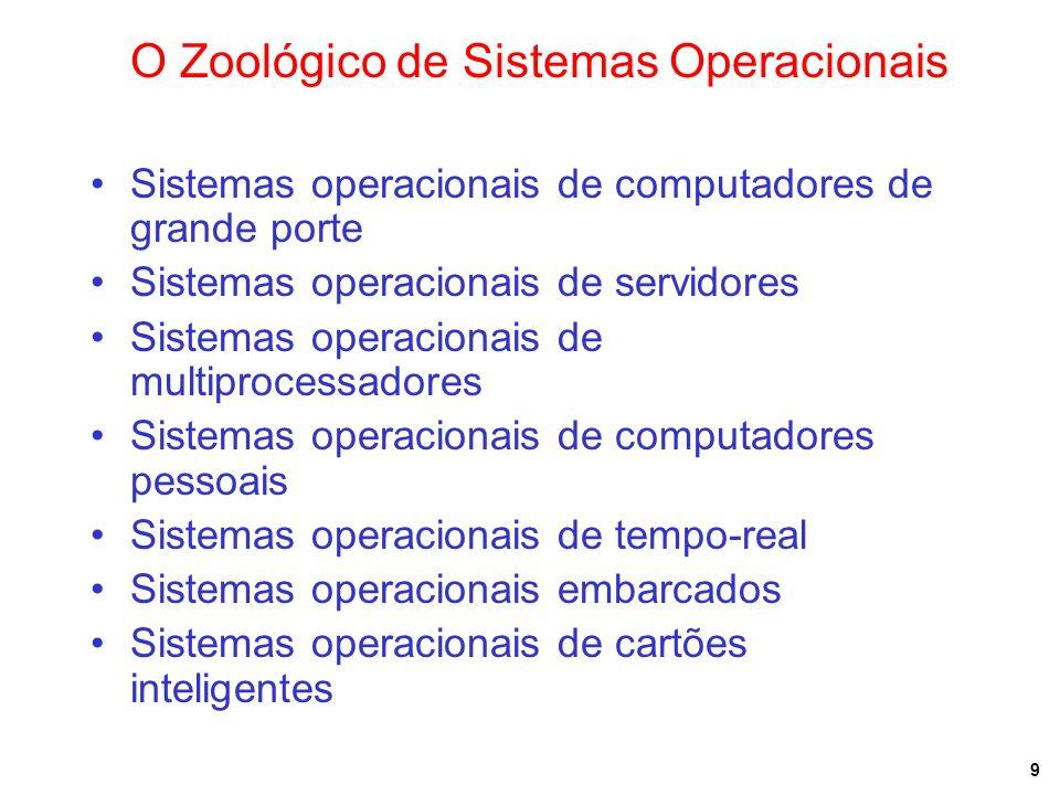 9 O Zoológico de Sistemas Operacionais Sistemas operacionais de computadores de grande porte Sistemas operacionais de servidores Sistemas operacionais