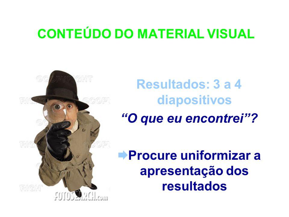 CONTEÚDO DO MATERIAL VISUAL Resultados: 3 a 4 diapositivos O que eu encontrei? Procure uniformizar a apresentação dos resultados