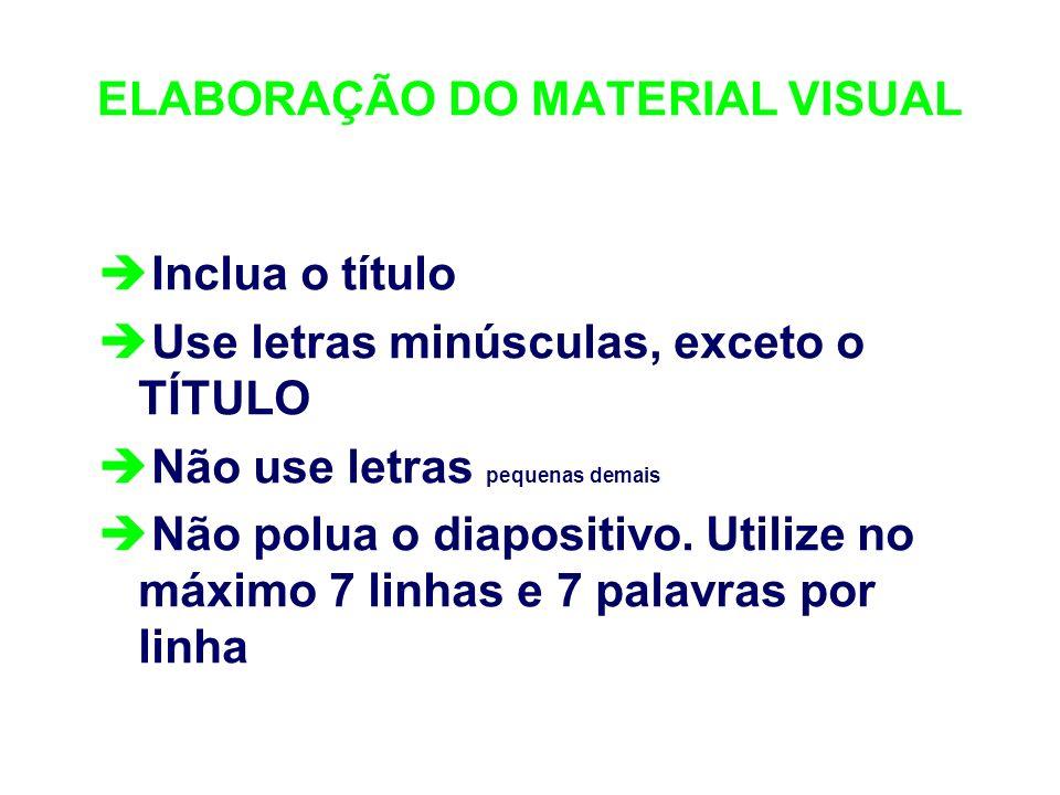ELABORAÇÃO DO MATERIAL VISUAL è Inclua o título è Use letras minúsculas, exceto o TÍTULO è Não use letras pequenas demais è Não polua o diapositivo. U