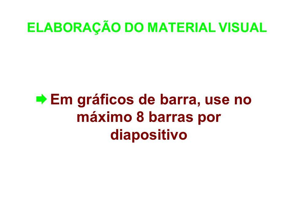 ELABORAÇÃO DO MATERIAL VISUAL Em gráficos de barra, use no máximo 8 barras por diapositivo