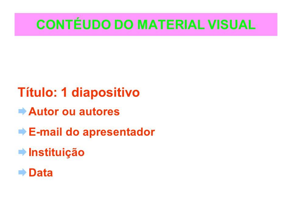 CONTÉUDO DO MATERIAL VISUAL Título: 1 diapositivo Autor ou autores E-mail do apresentador Instituição Data