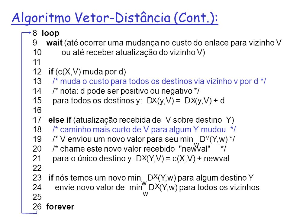 Algoritmo Vetor-Distância (Cont.): 8 loop 9 wait (até ocorrer uma mudança no custo do enlace para vizinho V 10 ou até receber atualização do vizinho V