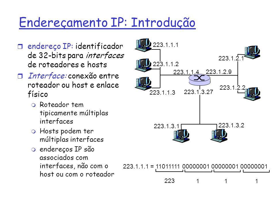 Endereçamento IP: Introdução r endereço IP: identificador de 32-bits para interfaces de roteadores e hosts r Interface: conexão entre roteador ou host