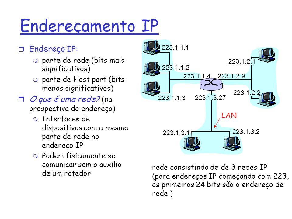 Endereçamento IP r Endereço IP: m parte de rede (bits mais significativos) m parte de Host part (bits menos significativos) r O que é uma rede? ( na p