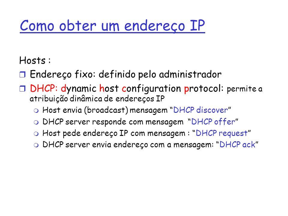 Como obter um endereço IP Hosts : r Endereço fixo: definido pelo administrador r DHCP: dynamic host configuration protocol: permite a atribuição dinâm
