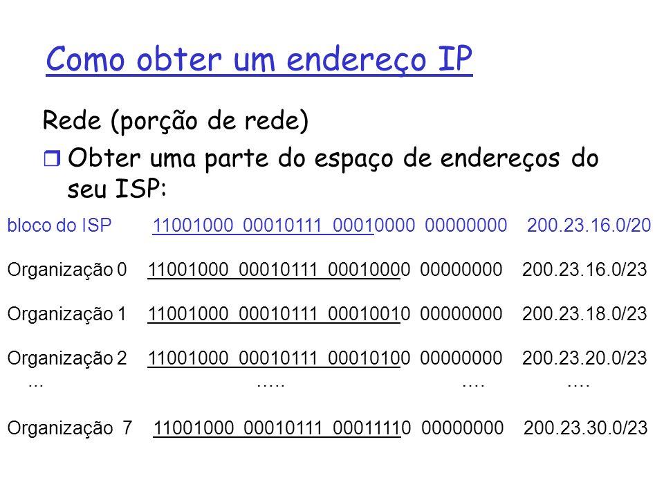 Como obter um endereço IP Rede (porção de rede) r Obter uma parte do espaço de endereços do seu ISP: bloco do ISP 11001000 00010111 00010000 00000000