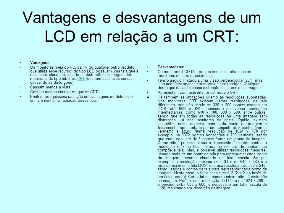 Vantagens e desvantagens de um LCD em relação a um CRT: Vantagens: Os monitores (seja do PC, da TV ou qualquer outro produto que utilize esse recurso)