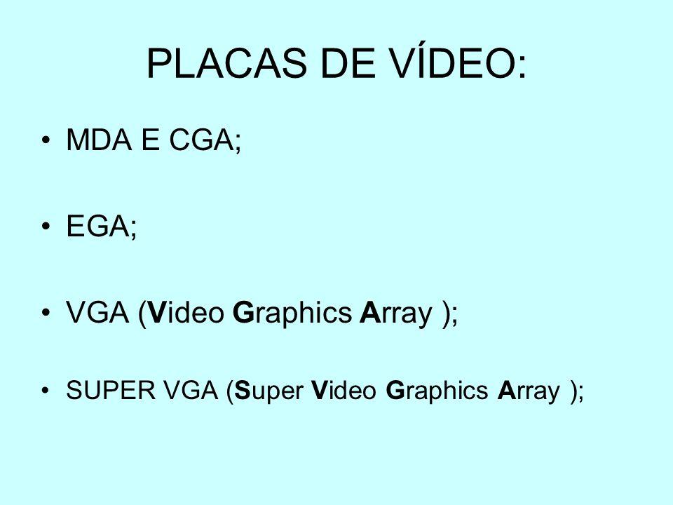 PLACAS DE VÍDEO: MDA E CGA; EGA; VGA (Video Graphics Array ); SUPER VGA (Super Video Graphics Array );
