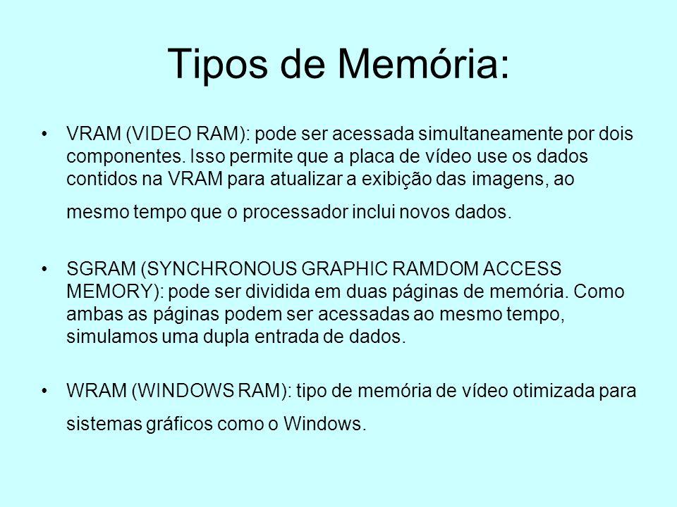 Tipos de Memória: VRAM (VIDEO RAM): pode ser acessada simultaneamente por dois componentes. Isso permite que a placa de vídeo use os dados contidos na