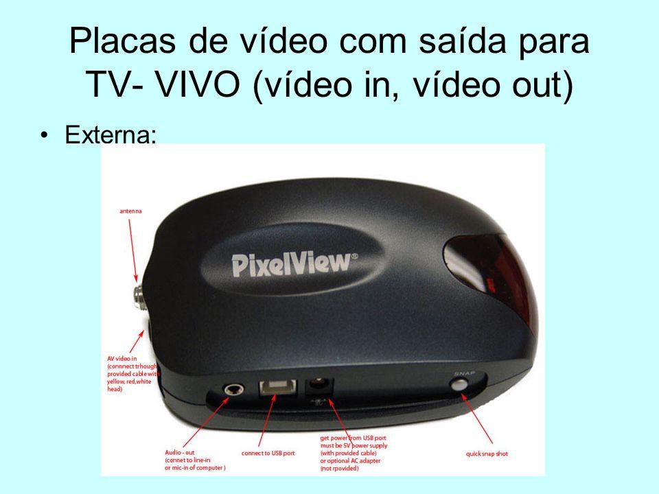 Placas de vídeo com saída para TV- VIVO (vídeo in, vídeo out) Externa: