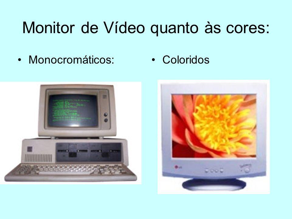 Monitor CRT(Catodic Ray Tube - Tubo de raios catódicos) Tamanhos: 14, 15, 17, 19 e 21 Resoluções: 640x480, 800x600, 1024x768 e 1280x1024.